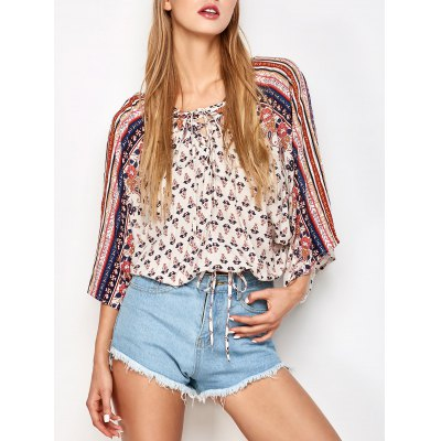 Lace up dolman sleeve top