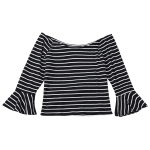 best Striped Flare Sleeve Off The Shoulder T-Shirt