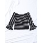 Striped Flare Sleeve Off The Shoulder T-Shirt for sale