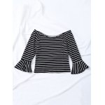 Striped Flare Sleeve Off The Shoulder T-Shirt