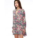 cheap Keyhole Floral Swing Boho Tunic Dress