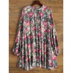 best Keyhole Floral Swing Boho Tunic Dress
