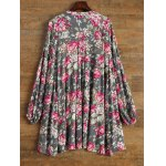 Keyhole Floral Swing Boho Tunic Dress photo