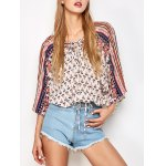 cheap Lace Up Dolman Sleeve Top