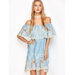 cheap Off The Shoulder Crochet Trim Dress