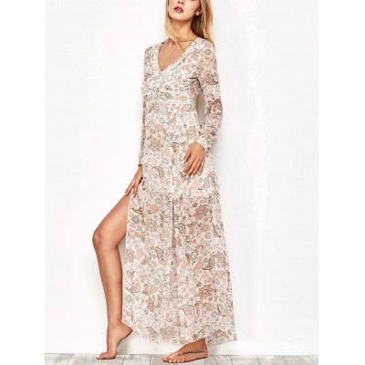 Long Sleeve Printed Maxi Slit Dress