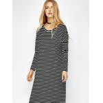 cheap Striped Long Sleeve Tee Dress