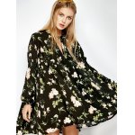 cheap Floral Print Long Sleeve Swing Dress