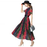 Color Block Lace Maxi Dress photo
