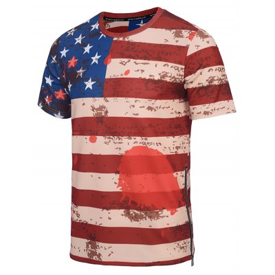 Crew Neck Distressed American Flag Print T-ShirtMens Short Sleeve Tees<br>Crew Neck Distressed American Flag Print T-Shirt<br><br>Collar: Crew Neck<br>Material: Cotton, Polyester<br>Package Contents: 1 x Tee<br>Pattern Type: Striped<br>Sleeve Length: Short<br>Style: Casual<br>Weight: 0.309kg