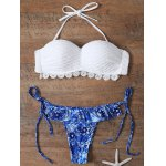 Women's Stylish White Bra + Hit Color Print Briefs Bikini Suit