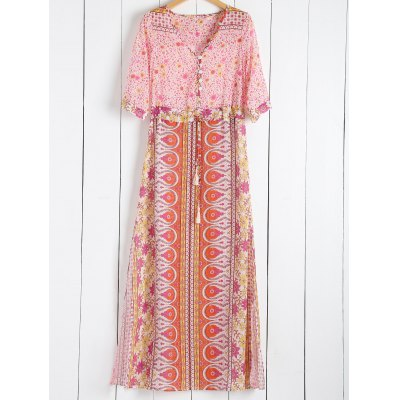 Scoop Collar Tiny Floral Printed 3/4 Sleeve Dress