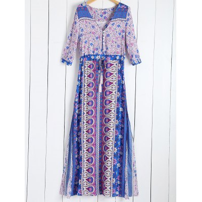 Tiny Floral Printed Bohemian 3/4 Sleeves Dress