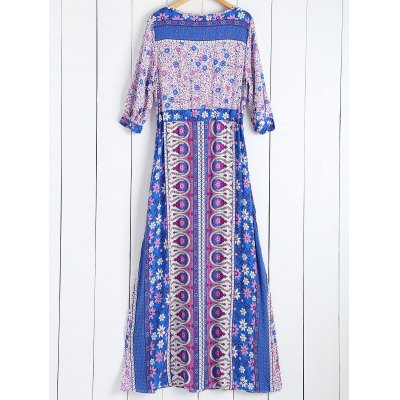 Tiny Floral Printed Bohemian 3/4 Sleeves DressMaxi Dresses<br>Tiny Floral Printed Bohemian 3/4 Sleeves Dress<br><br>Style: Bohemian<br>Material: Polyester<br>Fabric Type: Poplin<br>Silhouette: Beach<br>Dresses Length: Floor-Length<br>Neckline: V-Neck<br>Sleeve Length: 3/4 Length Sleeves<br>Pattern Type: Print<br>With Belt: No<br>Season: Summer<br>Weight: 0.370kg<br>Package Contents: 1 x Dress