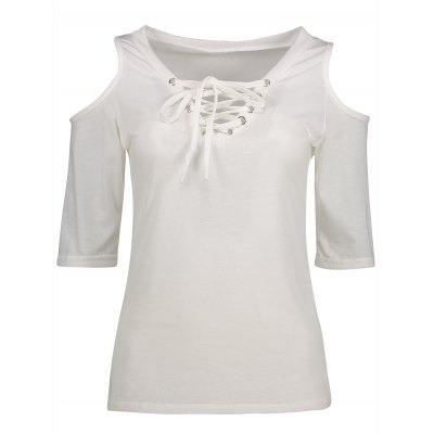 Lace-Up Cold Shoulder T-Shirt