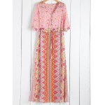 Fashionable Scoop Collar Tiny Floral Printed 3/4 Sleeve Dress For Women