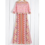 cheap Fashionable Scoop Collar Tiny Floral Printed 3/4 Sleeve Dress For Women