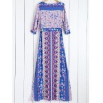cheap Tiny Floral Printed Bohemian 3/4 Sleeves Dress
