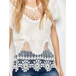 Scalloped Caged Crocheted Lace Cover Up for sale