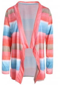 Stylish Collarless Long Sleeve Color Block Asymmetrical Women's Cardigan