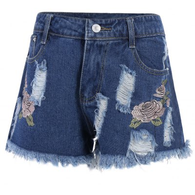 Floral Embroidered Frayed High Rise Shorts
