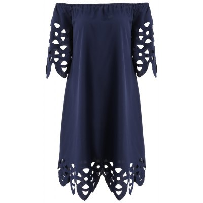 Openwork Off-The-Shoulder Shift Casual Dress Day