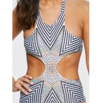 Stylish Halterneck Zig Zag One-Piece Swimsuit For Women for sale