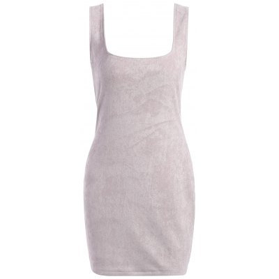 Suede Fitted Open Back Dress
