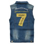 cheap Embroidered Scratched Chest Pocket Denim Vest