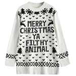 Jewel Neck Merry Christmas Sweater deal