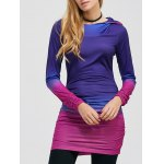 Pullover Ombre Ruched Tunic Hoodie