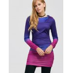 cheap Pullover Ombre Ruched Tunic Hoodie