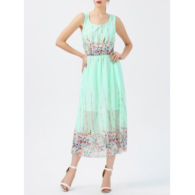 Chiffon Sheer Floral Swing Dress