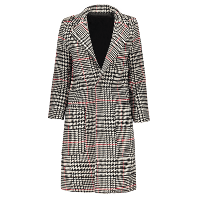 Lapel Big Pocket Houndstooth Coat