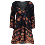 best Plunging Neck 3/4 Sleeve Printed Dress