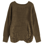 Crew Neck Ripped Sweater deal