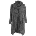 Drape Front Long Cardigan With Non-Detachable Scarf deal
