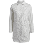 Long Buttoned Floral Embroidered Linen Shirt deal