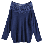 Plus Size Lace Spliced Pullover Sweater deal