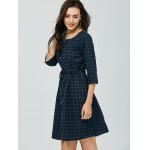 Elastic Waist Button Up Checked Dress for sale