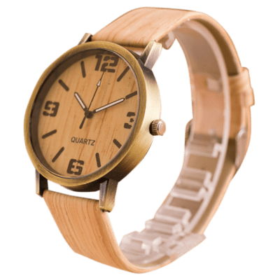 Faux Leather Wooden Quartz Watch