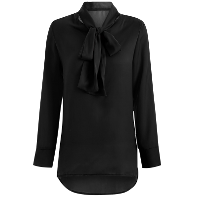 High Collar Pussy Bow Blouse