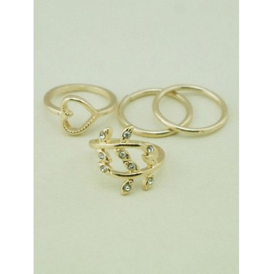 A Suit of Heart Leaf Alloy Rings