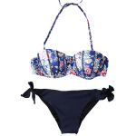cheap Fashionable Strapless Printed Underwire Bikini Set For Women