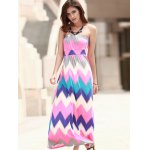 Strapless Zig Zag Print Maxi Dress For Women for sale