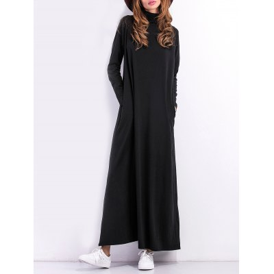 High Neck Maxi Dress  With Sleeves