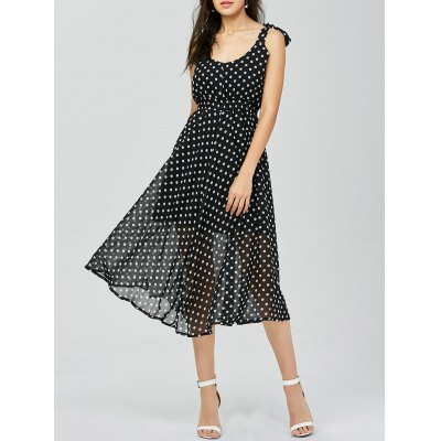 Polka Dot Midi Club Flared Dress