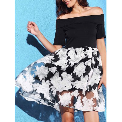 Fashion Off-The-Shoulder Fit and Flare Women's Dress