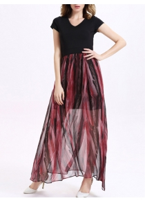 Fashion V-Neck Short Sleeve Printed Spliced Maxi Dress For Women