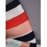 Stylish Boat Neck 3/4 Sleeve Colored Stripe Women's T-Shirt for sale